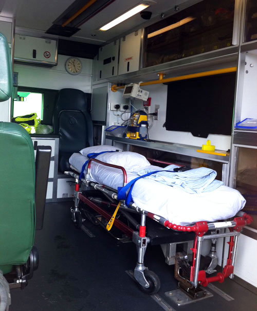 This image shows the inside of one of A-Star's ambulance for hire.